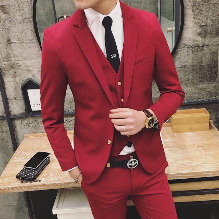 1001 id es des hommes costume homme rouge tenue de. Black Bedroom Furniture Sets. Home Design Ideas