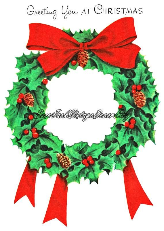 Digital Christmas Cards.Christmas Wreath Digital Christmas Card Download