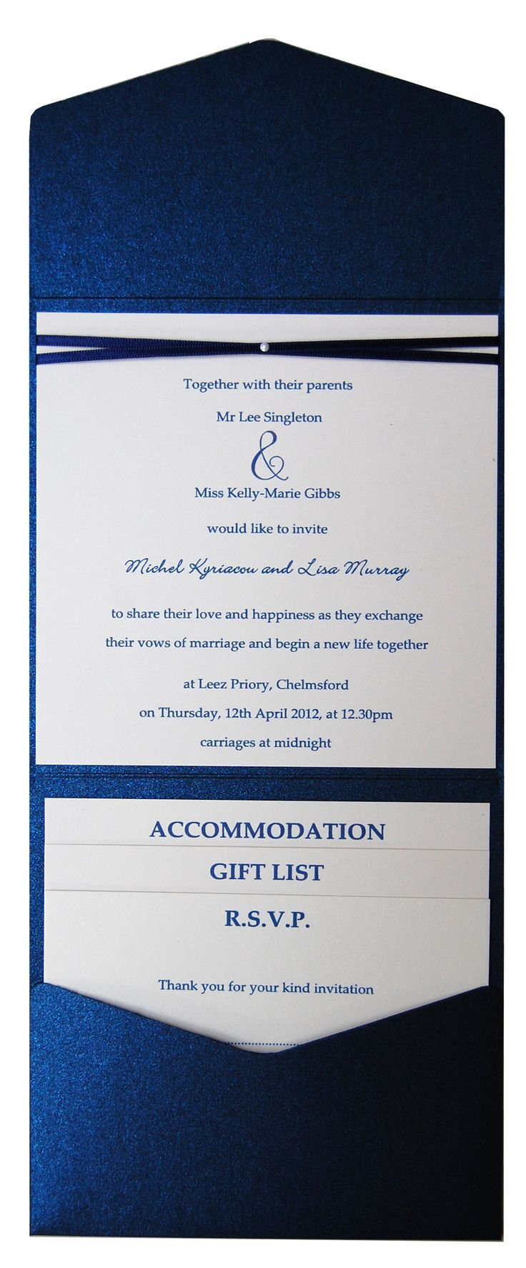 Sapphire blue metallic pocket fold wedding invitation. See the range at www.sew-unique.co.uk