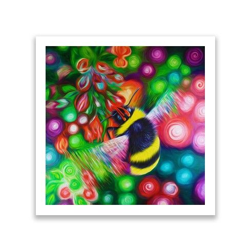 Bumble Bee and Flowers Print by simon-knott-fine-artist at zippi.co.uk