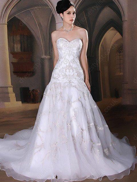 Train Ivory Embroidery Luxury Wedding Dress Shop uk