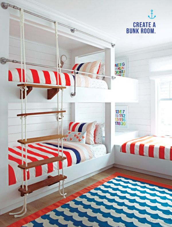 aredwhiteandbluecolorthemeforthiskidsbunkroomfeaturesnautical decorincludingtheropeladdertogettothetopbunk - Bedroom Ideas Kids