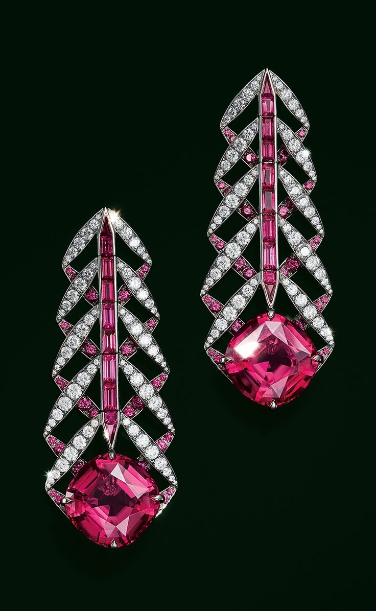 Earrings in platinum with cushion-cut rubellites totaling over 16 carats, pink sapphires and diamonds.