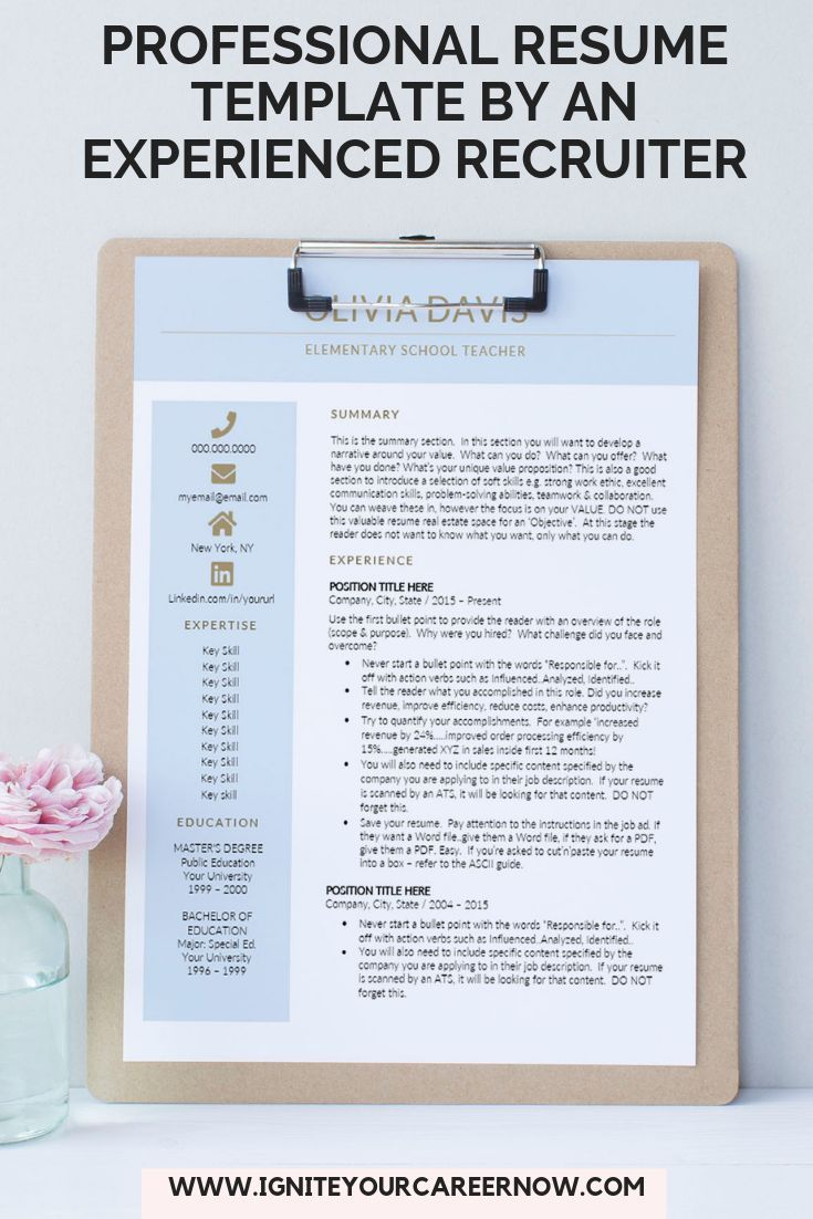 Teacher Resume Template Digital Download Principal Resume