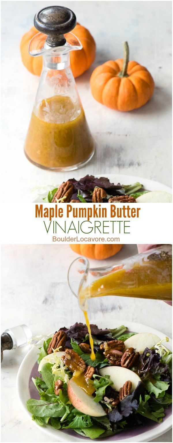 Maple Pumpkin Butter Vinaigrette. Sweet, tangy and tasting like fall, this salad…