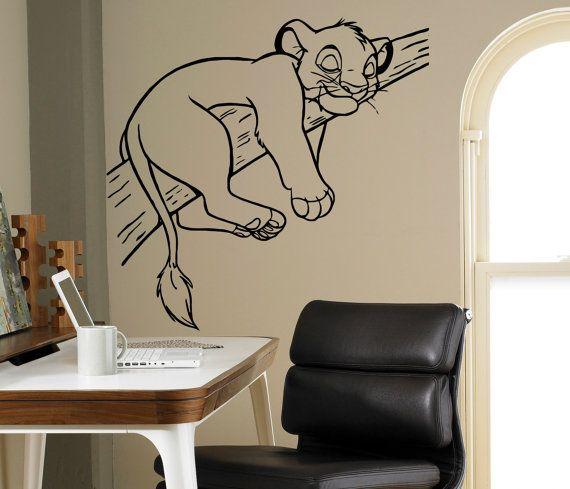 Simba re leone parete vinile Decal Disney cartoni animati Wall Sticker parete casa interni bambini camera decorazione adesivi rimovibili 16(lk)