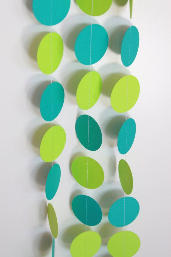 Turquoise and Lime Green Paper Garland by TheFrickAndFrack on Etsy, $14.00