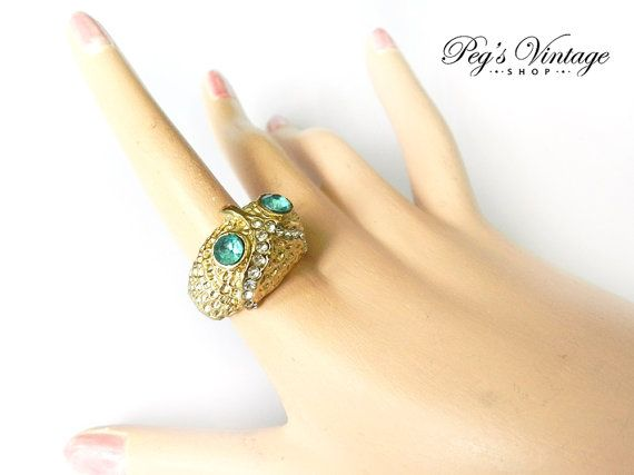 Vintage Owl Bird Ring Statement Ring Rhinestone by PegsVintageShop