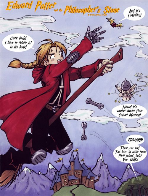 Epic win. Two of my favorite things in the world- Harry Potter and Fullmetal Alchemist- have become one!