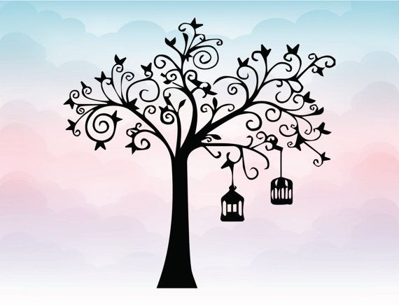 Tree wall decal for nursery in Svg Png Eps Pdf Ai vector for cutting machines Cameo Silhouette Cricut