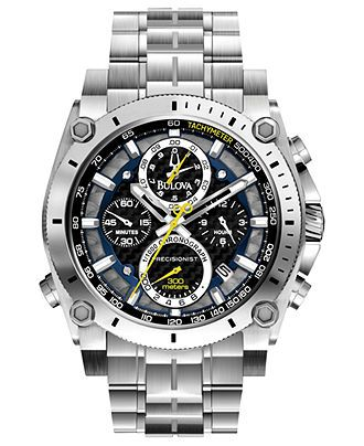 Bulova Watch, Men's Chronograph Precisionist Stainless Steel Bracelet 47mm 96B175 - Bulova - Jewelry & Watches - Macy's