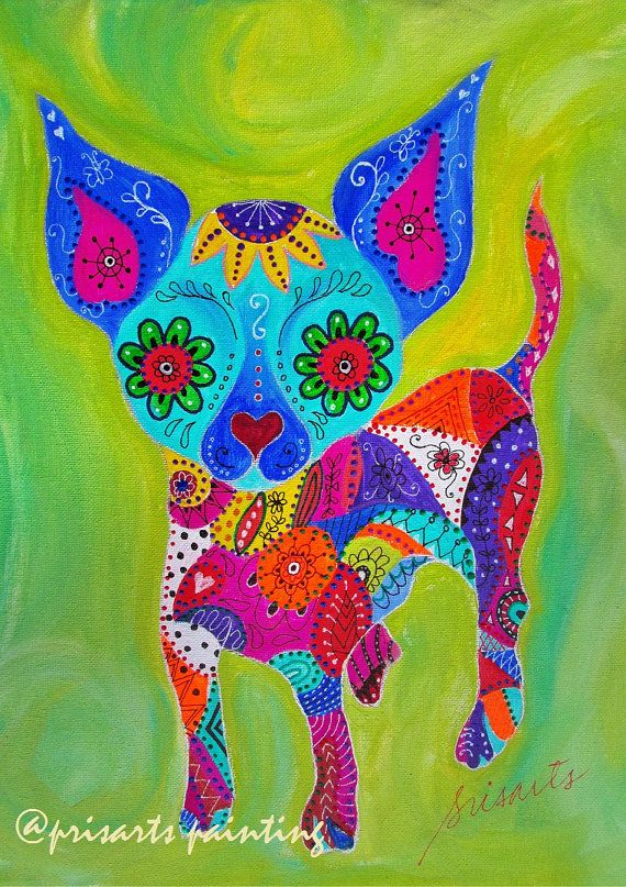 Folk Art Talavera Chihuahua Mexican Original Painting by prisarts Art & Collectibles  Painting  painting  folk art  kids  turkus  pristine  cartera  flowers  mexican  portrait  CHIHUAHUA EL PERRO  PERRITO  PERRO talavera, latin art, oaxacan