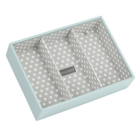 STACKERS 'CLASSIC SIZE' Duck Egg Blue Deep 3 Section STACKER Jewellery Box with Grey Polka-Dot Lining.