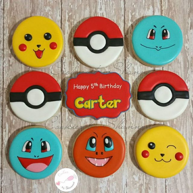Happy birthday Carter! Faces based on @cookielicious_nz characters. #pokemoncookies #pokemon #pikachu #squrtle #charmander #decoratedcookies #decoratedsugarcookies #cookiesbyshannon #birthday #birthdaycookies #thewoodlands #springtx #houston #houstonevents #houstonbaker #pokeball