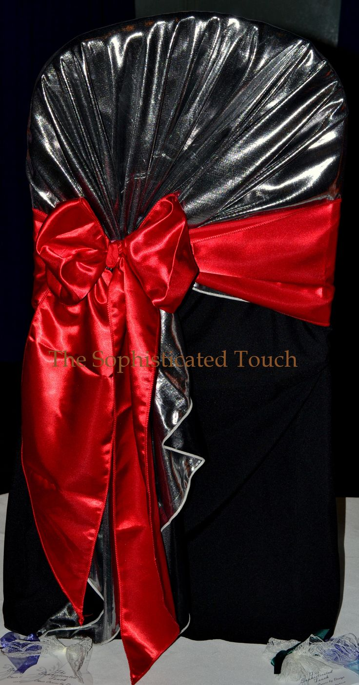 Silver Lame Chair Shawl with Red Satin Bow on Black Chair Cover.  The Sophisticated Touch ...Chair Covers by Design