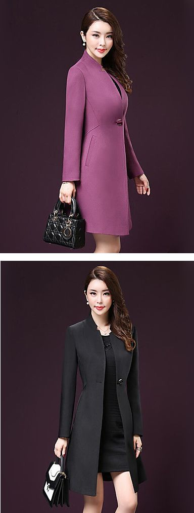 Wear this elegant slim one buttoned women coat to look professional every day! Find it in beautiful plum and black colors at $19.99