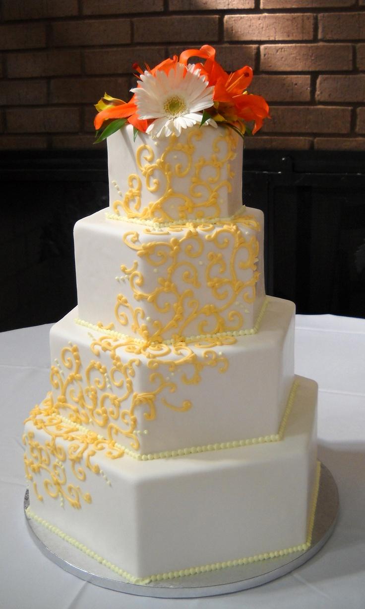 hexagonal wedding cake. art deco influence. Cakes by Kasarda in Charleston, SC