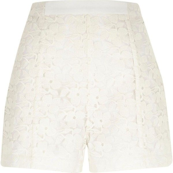 River Island White smart lace high waisted shorts ($24) ❤ liked on Polyvore featuring shorts, sale, white, women, zipper shorts, high rise shorts, white lace shorts, white floral shorts and highwaist shorts