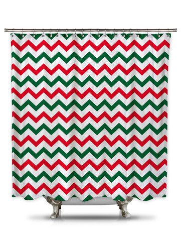 Red and Green Chevron Shower Curtain, Christmas shower curtain – showercurtainhq.com #Christmas #chevron #shower #curtain