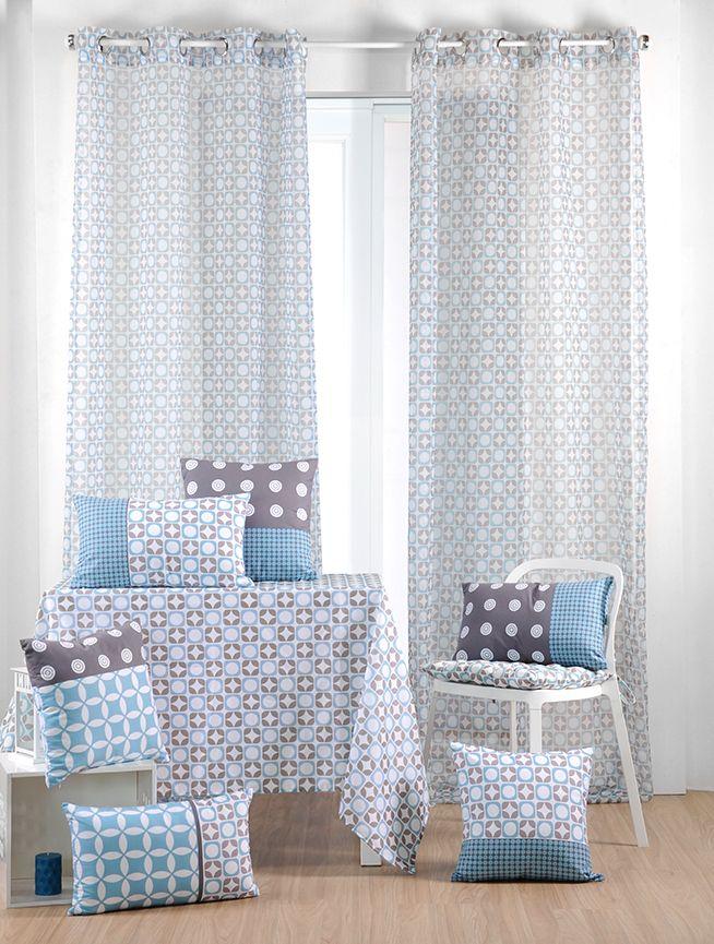 rideau voilage bleu gris motifs