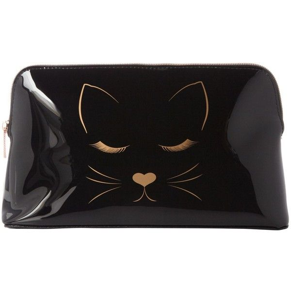 Ted Baker Cat Large Cosmetic Bag ($39) ❤ liked on Polyvore featuring beauty products, beauty accessories, bags & cases, toiletry bag, makeup bag case, dop kit, wash bag and travel bag