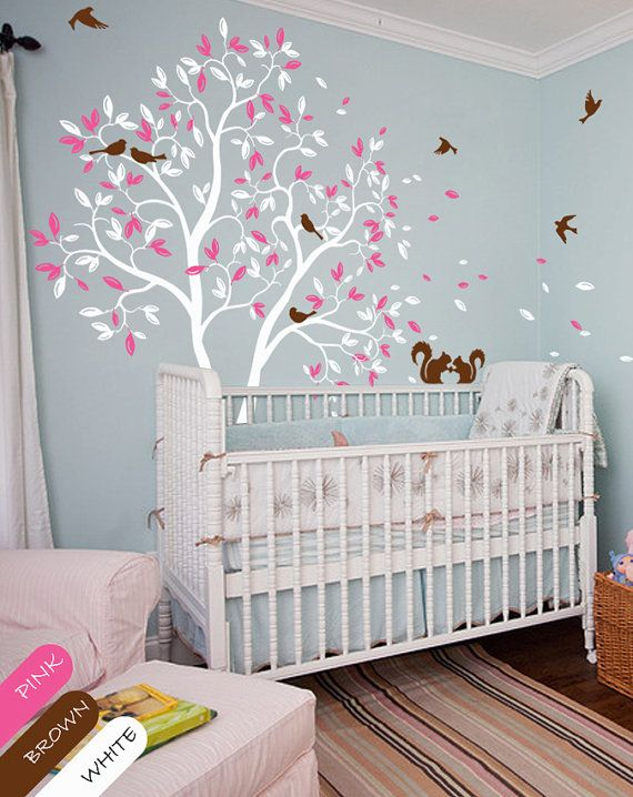 White tree wall decal nursery wall mural sticker with cute for Baby nursery tree mural
