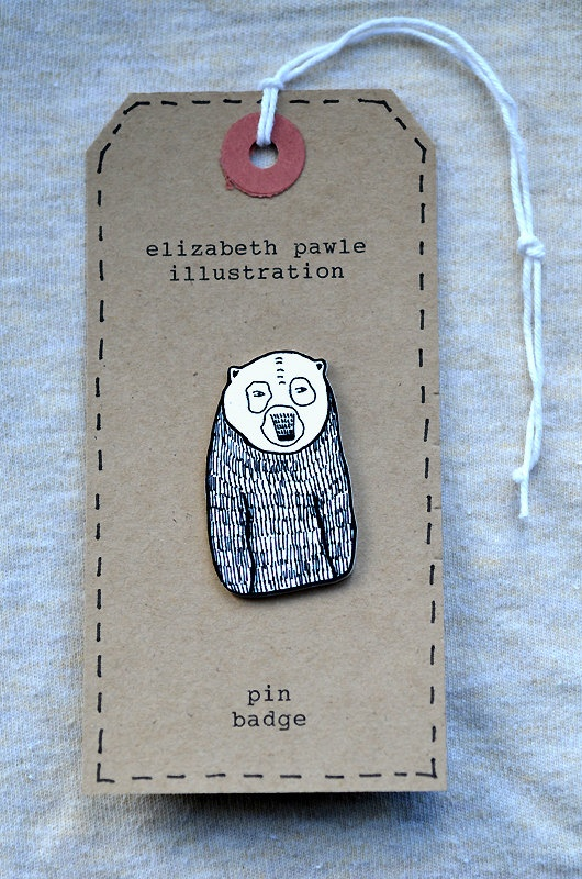 grizzly bear brooch - by elizabeth pawle - modern design - hand drawn hand cut - black and white illustration pin badge. $12.00, via Etsy.