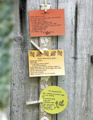 Recipe Cards  For your next dinner party, write out copies of your beloved recipes on colored notecards, then decorate with stamps. Use clothespins to hang them from a length of ribbon near the door so guests can take them as they leave.    Read more: Crafts with Clothespins - Easy Craft Projects to Make with Clothespins - Country Living