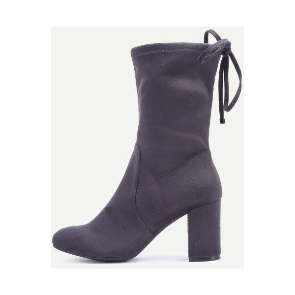 SheIn(sheinside) Grey High Heels Tie Back Short Boots (66 AUD) ❤ liked on Polyvore featuring shoes, boots, ankle booties, grey, high heel booties, lace up high heel booties, high heel boots, high heel ankle boots and gray ankle boots