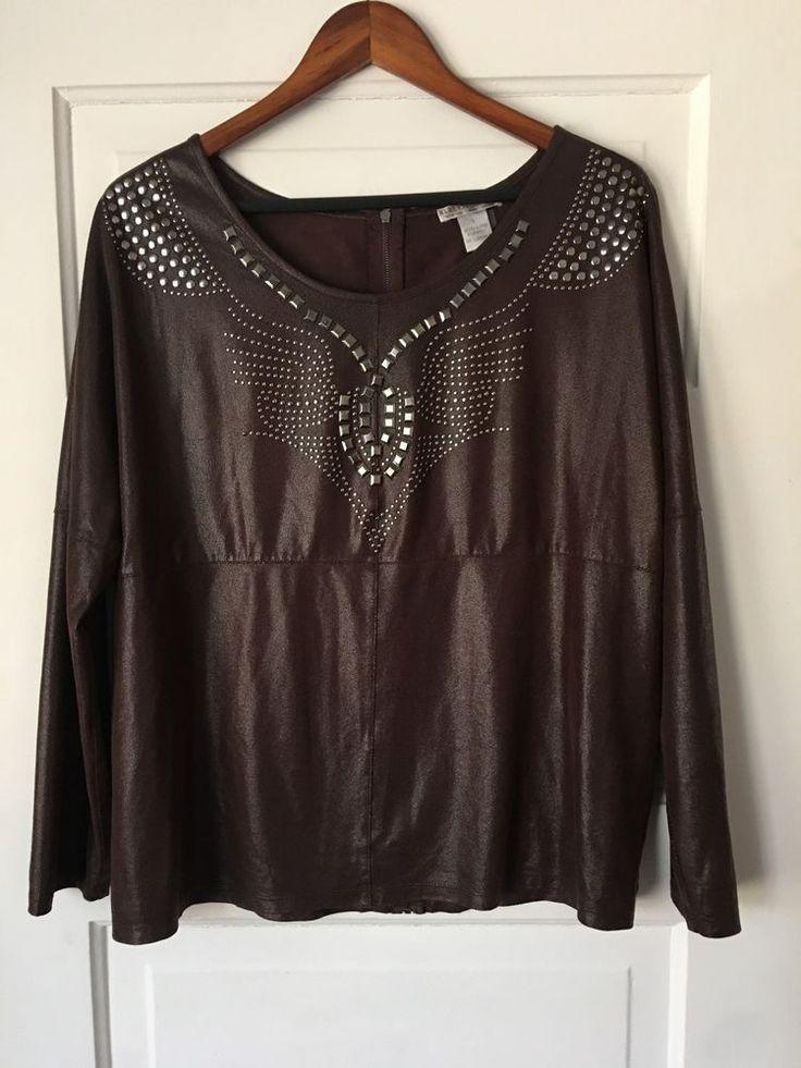 "Women's Alberto Makali faux suede studded top in brown. Back zipper. Polyester blend. Size large. Shoulder to shoulder: 16"". Sleeve: 23"".   eBay!"