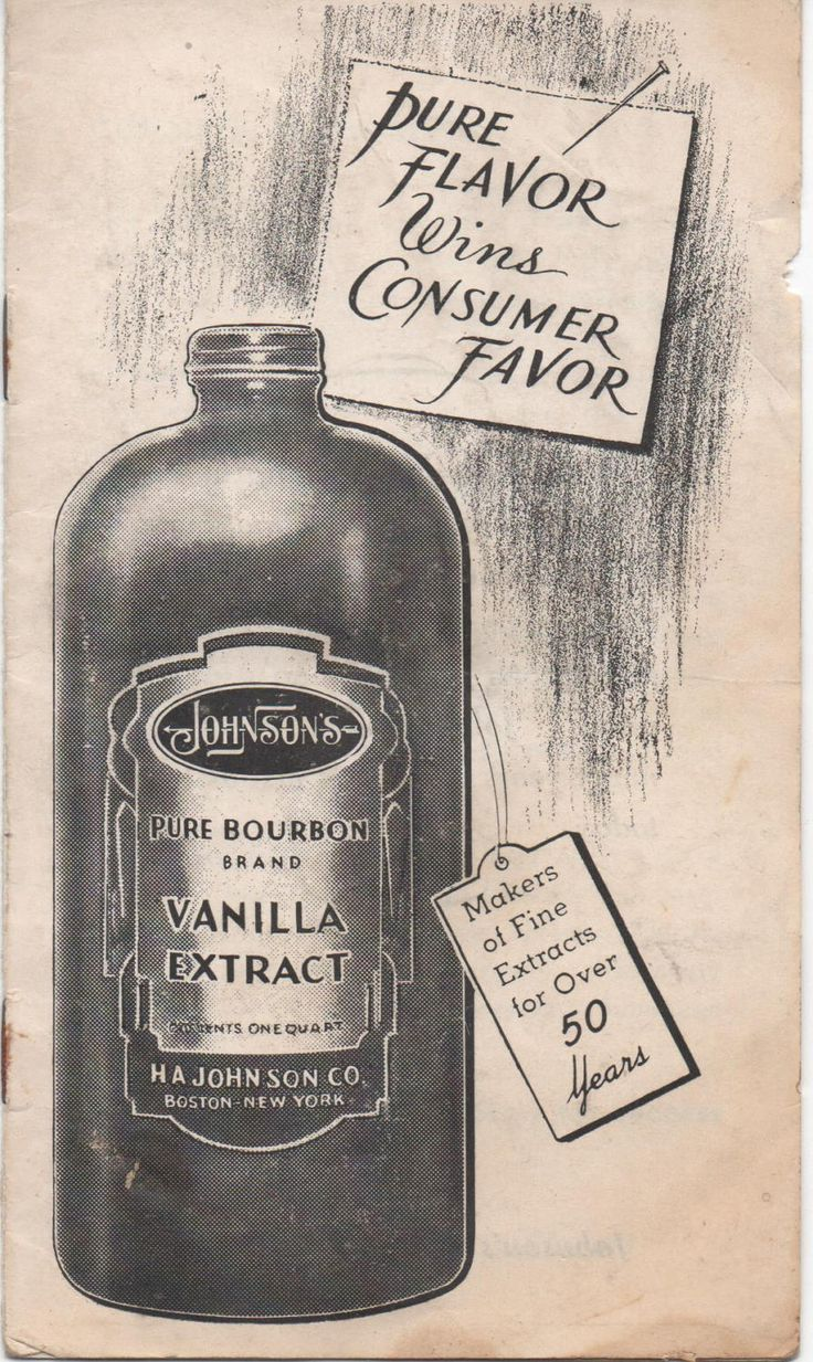Pure Bourbon Brand Vanilla Extract brochure c1940s, H. A. Johnson Co., Boston, Massachusetts, fair shape by VintageNEJunk on Etsy
