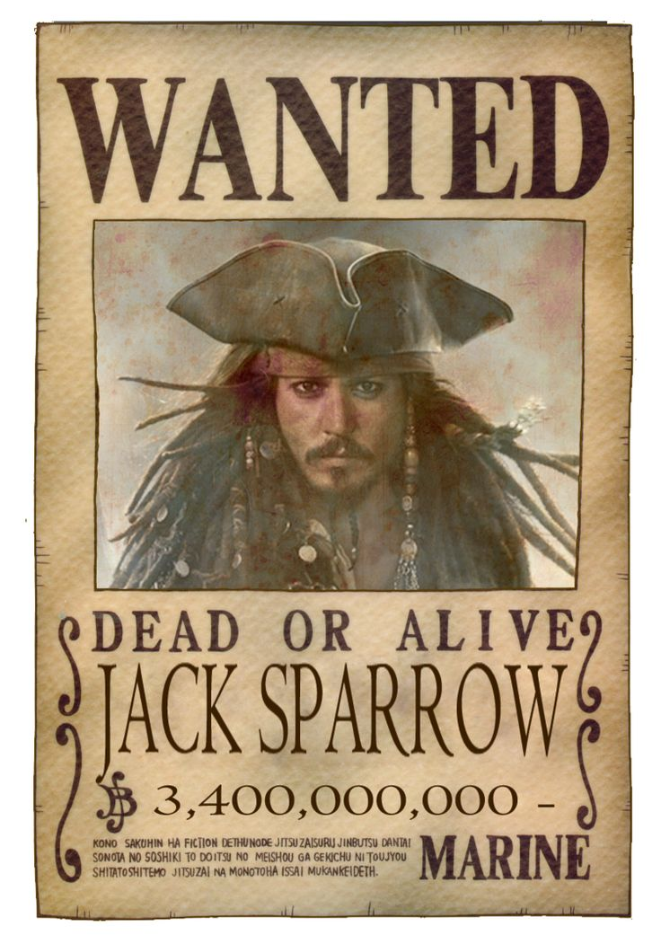 wanted pirate poster template - jack sparrow wanted poster one piece by
