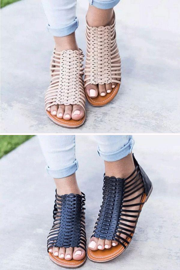 Brown Rivets Heel Covering Flat Sandals Soft Leather Sandals Leather Gladiator Sandals Womens Gladiator Sandals