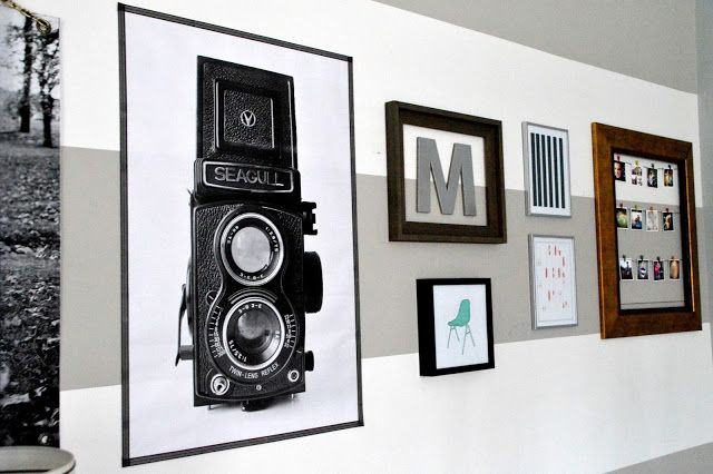"Kid-Friendly Design: A Gallery Wall With Staples Engineer Prints - East Coast Creative Blog-""framed"" with  Washi tape along the sides"