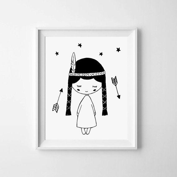 baby girl nursery print, kids room decor, arrows print digital, printable wall art, whimsical poster, Pocahontas, black and white wall art