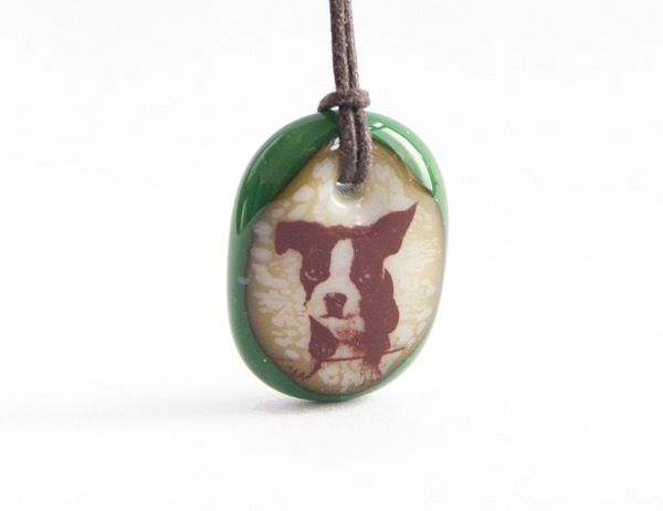 Boston Terrier Pup Necklace - handmade in glass by  l e i l a c o o l s