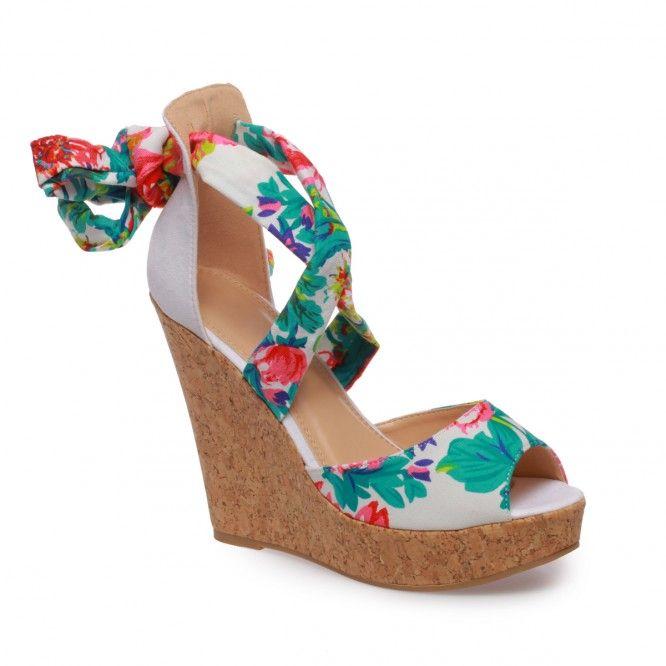 Sandales compensées à lacets fleuris blanc