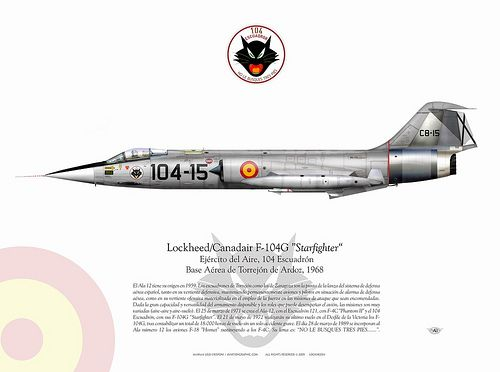 """F104G-Spain    El 25 de marzo de 1971 se crea el Ala-12, con el Escuadrón 121, con F-4C """"Phantom II"""" y el 104 Escuadrón, con sus F-104G """"Starfighter"""". El 21 de mayo de 1972 realizarán su último vuelo en el Desfile de la Victoria los F-104G, tras contabilizar un total de 18.000 horas de vuelo sin un solo accidente grave. El día 28 de marzo de 1989 se incorporan al Ala número 12 los aviones F-18 """"Hornet"""" sustituyendo a los F-4C."""