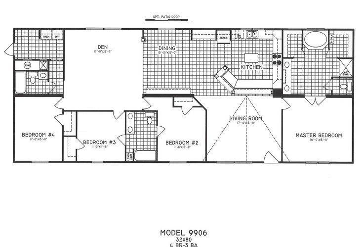 Modular home floor plans 4 bedrooms new plan with jack for 1 bedroom mobile home floor plans
