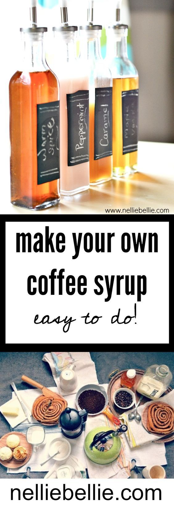 Make your own homemade coffee syrup with this easy coffee syrup recipe!! Easy to do and customize! ~nelliebellie.com