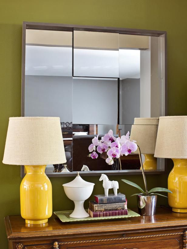 How to Make a 3D Mirror >> http://www.hgtv.com/design-star/how-to-make-a-multi-faceted-wall-mirror/index.html?soc=pinterest