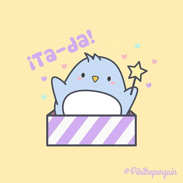 Ta-da!  #Piki #pikithepenguin #penguinslover #lovepenguins #tada #magical #magic #sorpresa #surprise #kawaii #kawai #picoftheday #pusheencat #box #gift #instagood #cute #magicbar #character #illustration #molang #vector