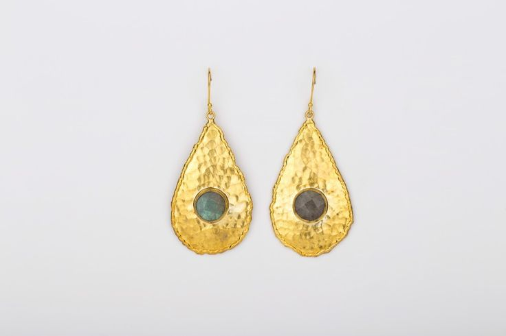 Drop in the Ocean Earrings _Labradorit - Gold plated