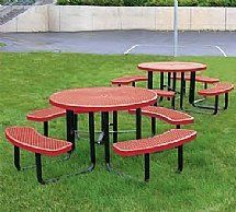 City Round Commercial Picnic Tables by Barco Products. $1018.00. Seats 8 adults comfortably Food-contact safe, thermal-fused plastic coating No peeling, cracking or fading 1-5/8 OD galvanized, black powder-coated steel frame 1-5/8 diameter umbrella hole Picnic table assembles in minutes