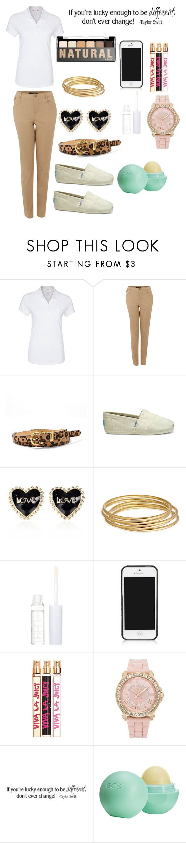 """""""How to Spice Up a School Uniform"""" by diy-queen ❤ liked on Polyvore featuring MUSTANG, Lauren Ralph Lauren, FOSSIL, TOMS, River Island, Astley Clarke, Lord & Berry, NYX, Tory Burch and Juicy Couture"""