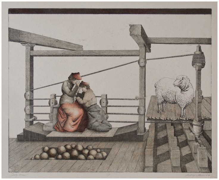 Andrzej Mazur-Dolly Sheep-hand coloured etching