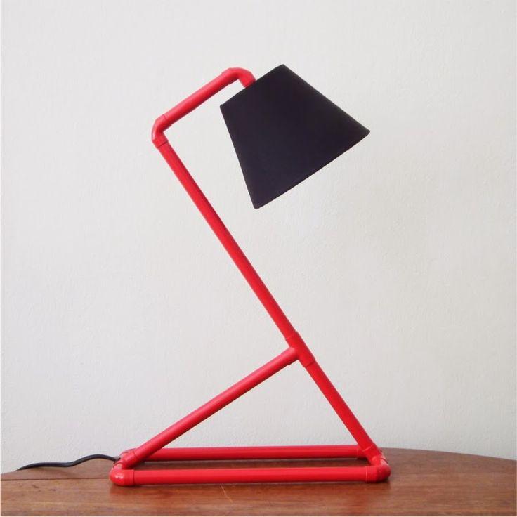 Coloured mini - red - desk lamp - PVC tubing