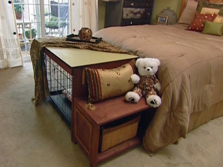 Provide+extra+seating+and+conceal+your+dog's+crate+with+this+project+from+HGTV.com.