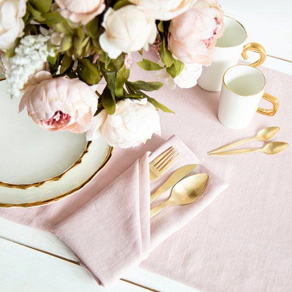 Softened Pink Linen Napkins