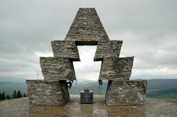 Hungarian Conquest memorial at the Verecke Pass ( now Ukraine)